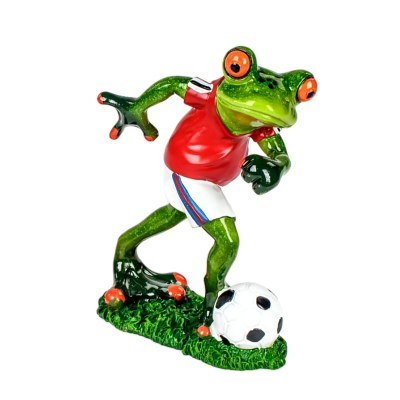 Froschfigur Funny Frog Fußball-Frosch in rot 14cm