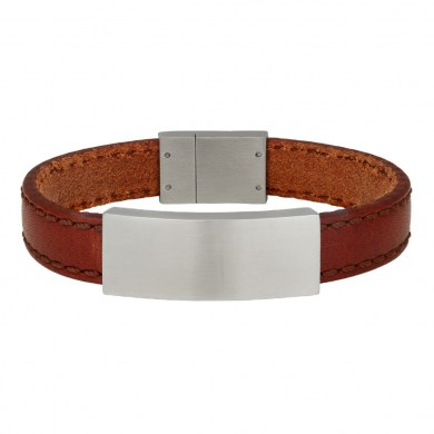 Armband Leather & Steel Brown von SON of NOA