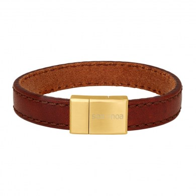 Armband Leather Brown & Gold von SON of NOA