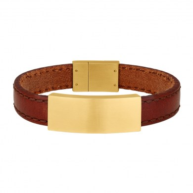 Armband Leather & Gold Brown von SON of NOA